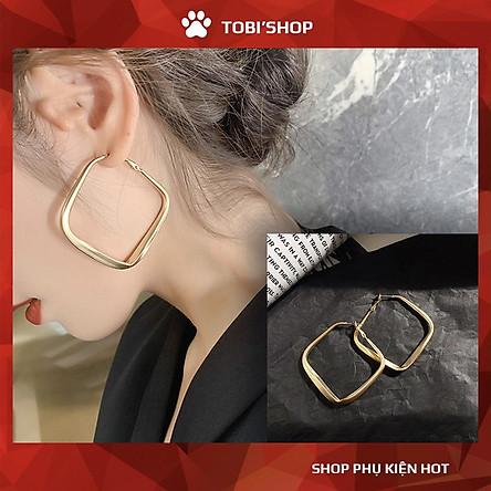Khuyên tai nữ bông tai hình học vuông mạ màu vàng TB69 - TOBI'SHOP