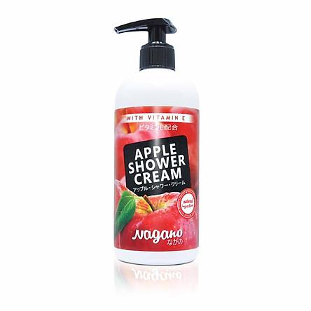 Sữa Tắm Vitamin E Hương Táo Nagano 250ml - Apple Shower Cream With Vitamin E 250ml - Chiết xuất táo đỏ, trà xanh, vitamin E giúp dưỡng ẩm và làm mềm mịn da