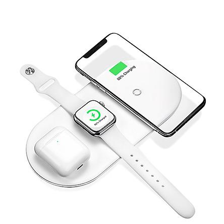 Đế sạc nhanh không dây 18W hỗ trợ sạc cùng lúc cho điện thoại /  Apple Airpods / Appe Watch hiệu Baseus Triple Smart Wireless chuẩn Qi Quốc tết và MFI của Apple - Hàng nhập khẩu