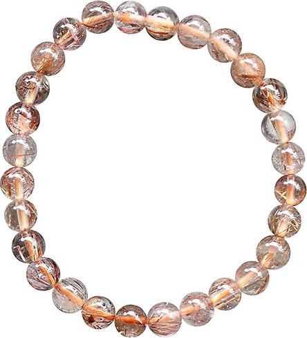 Vòng Thạch Anh Tóc Nâu Đỏ Myanmar 7mm Ngọc Quý Gemstones VT118