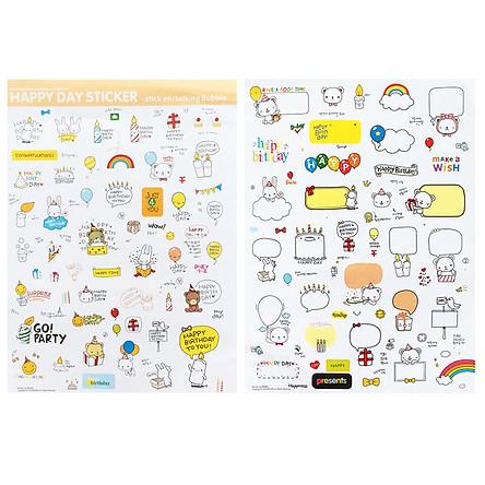 Bộ 2 Tấm Sticker  Giấy Trang Trí Chủ Đề Sinh Nhật Vui Vẻ Happy Birthday