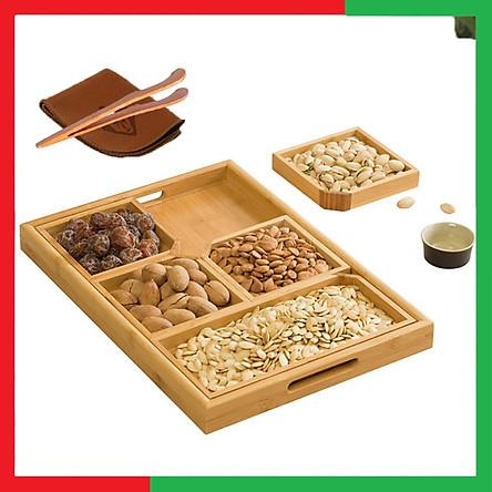 Khay gỗ đựng hạt,bánh,hoa quả có thể tách rời các ô làm Khay trà tiện dụng làm bằng Gỗ Tre,Kích thước 40 x 28 x 3,5 cm (Tặng kèm 1 Dụng cụ gắp trà và khăn lau bàn trà) - Khay gỗ đựng Mứt Tết - Khay Gỗ Đựng Bánh Hạt Nhiều ngăn