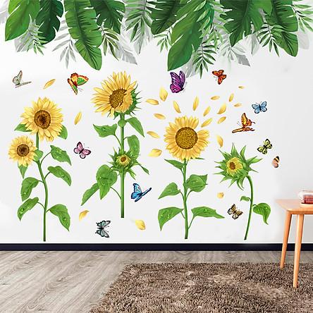 Decal dán tường hoa mặt trời combo phong cảnh lá xanh sinh động dán được cửa kính, gỗ