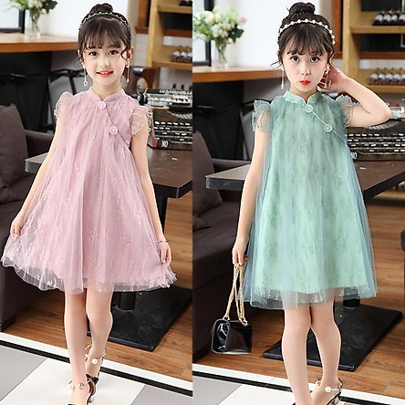 VL1Size 140-160 (20-35kg)Đầm cho bé gái, kiểu dáng công chúaThời trang trẻ Em hàng quảng châu