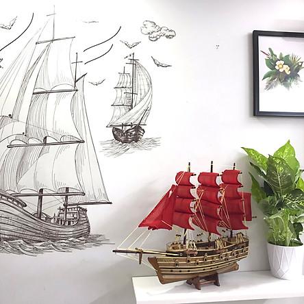 Mô Hình Thuyền Gỗ Chiến Cổ Napoleon Thân 40cm - Loại 2 - Buồm Đỏ