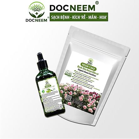 Combo Dầu Neem và Bánh dầu Neem hữu cơ DOCNEEM trị sâu bệnh, sùng đất cuốn chiếu, kích rễ hoa hồng chai 100ml và túi 1kg