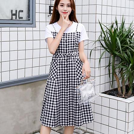 Đầm Bầu - Váy Bầu Giả Yếm Caro ( Khóa Kéo Thuận Tiện Cho Bé Bú Ti)