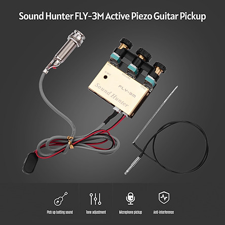 Sound Hunter Guitar Pickup Acoustic Guitar Onboard Active Piezo Pick Up EQ Equalizer Dual Source Preamp System with Mic