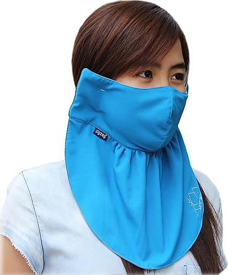 Khẩu trang lớn chống nắng UPF50+ Blue Zigzag MAS00404