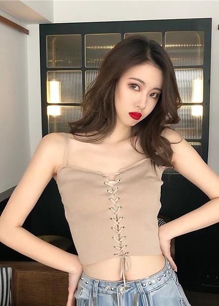 Áo hai dây đan chéo sexy Mã: AH348 - NÂU