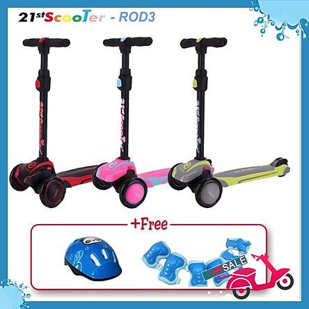 Xe trượt scooter 21st giảm xóc, 3 bánh LED cho bé (Tặng bảo hộ 7 món)