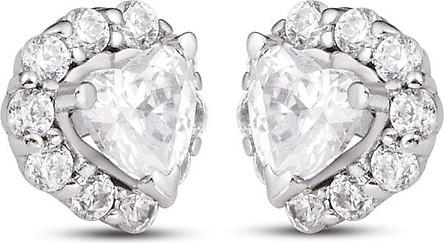 Bông tai bạc đính đá PNJSilver hình trái tim XMXMK000098-BO