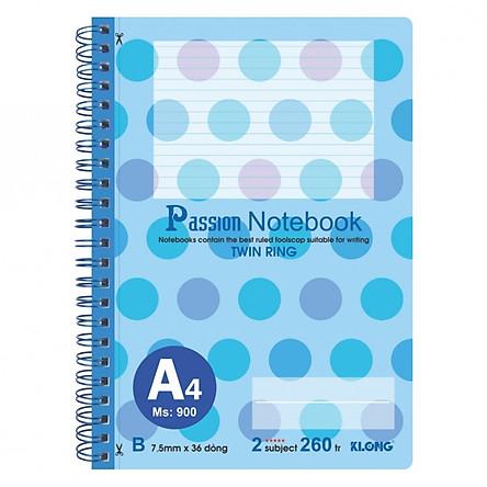 Sổ lò xo kép bìa nhựa A4 - 260 trang; Klong TP900 màu xanh dương