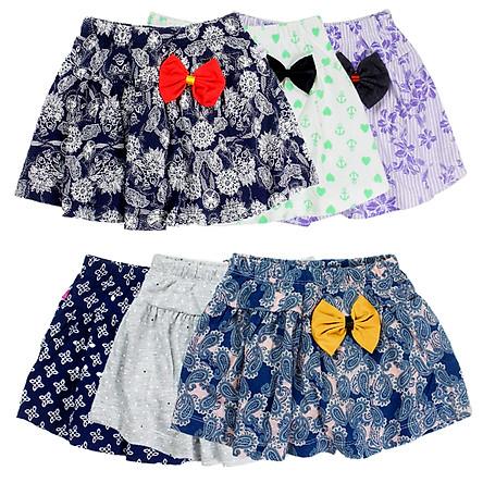 Combo 2 chân váy thun hoa văn xoè đính nơ lấy màu bất kỳ cho bé gái 0.5-7 tuổi từ 10 đến 25 kg 06297-06302