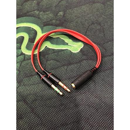 Dây chuyển từ lỗ 3.5 ly ra 2 jack 3.5 ly (micro+ tai nghe)