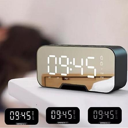 Loa bluetooth âm thanh sắc nét kiêm đồng hồ báo thức, đèn ngủ, màn hình soi gương - Hàng chính hãnng