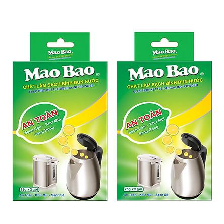 Combo 02 hộp chất làm sạch bình đun nước Mao Bao (25g x 2 gói)