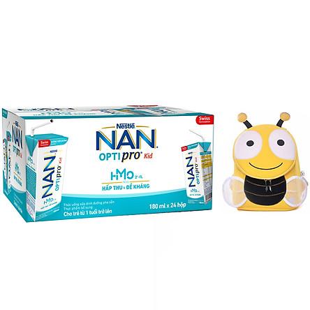 Thùng 24 hộp Nestlé® NAN® OPTIPRO® Kid Hộp pha sẵn 180ml ( 24x180ml) + Tặng Balo con ong