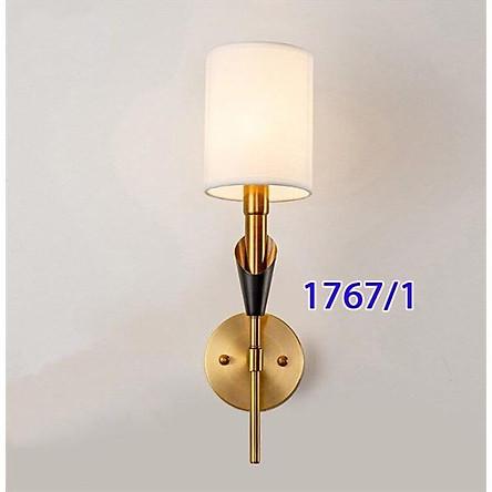 Đèn tường thân mạ vàng cao cấp chao vải trắng Đèn tường decor  trang trí Tg1767