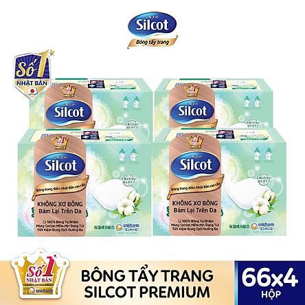 Bộ 4 hộp bông tẩy trang cao cấp Silcot Premium (66 miếng/hộp)