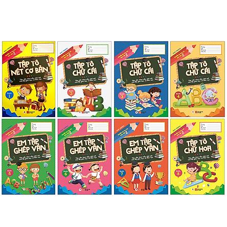 Combo Chuẩn Bị Cho Bé Vào Lớp 1 - Làm Quen Chữ Cái (8 Cuốn) - (Tập Tô Nét Cơ Bản + Tập Tô Chữ Cái Q2 + Tập Tô Chữ Cái Q3 + Tập Tô Chữ Cái Q4 + Em Tập Ghép Vần Q5 + Em Tập Ghép Vần Q6 + Em Tập Ghép Vần Q7+ Tập Tô Chữ Hoa Q8)