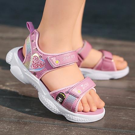 Dép sandal quai hậu bé gái 3 - 12 tuổi học sinh tiểu trung học đế Eva kháng khuẩn siêu nhẹ SG38