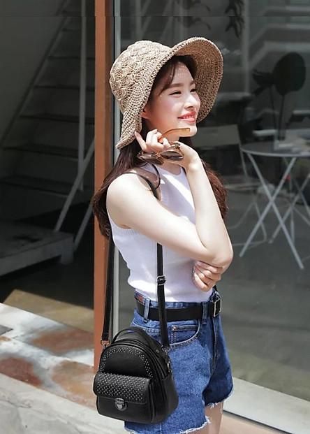 Balo Túi Xách Mini Da Nữ Nạm Đinh (21 x 19 cm)