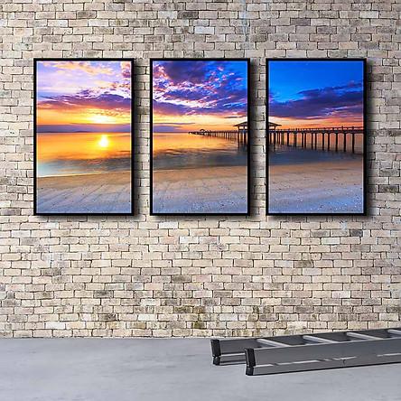 Bộ 3 tranh canvas treo tường Decor Hoàng hôn trên biển - DC153