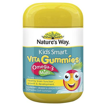 Kẹo dẻo bổ sung Vitamin tổng hợp và Omega 3 cho bé Nature's Way Kids Smart Vita Gummies Multi + Omega 50 viên