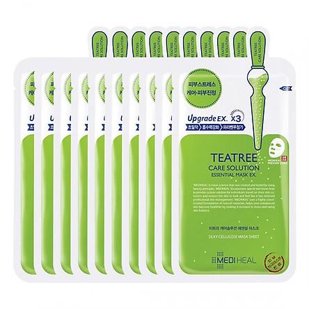Hộp 10 Mặt nạ dưỡng da giảm mụn chiết xuất tràm trà Mediheal Teatree Solution Essential Mask Ex