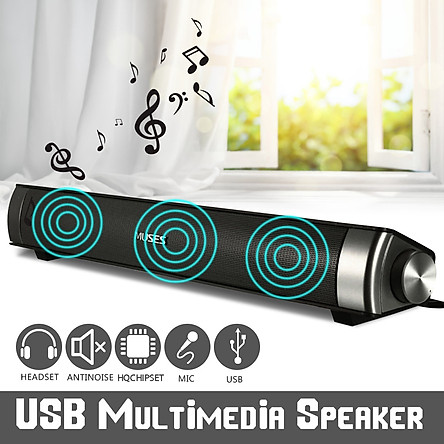 6W USB Multimedia HiFi Audio Sound Bar Speaker for Smart Phone Computer Desktop PC Laptop Tablet