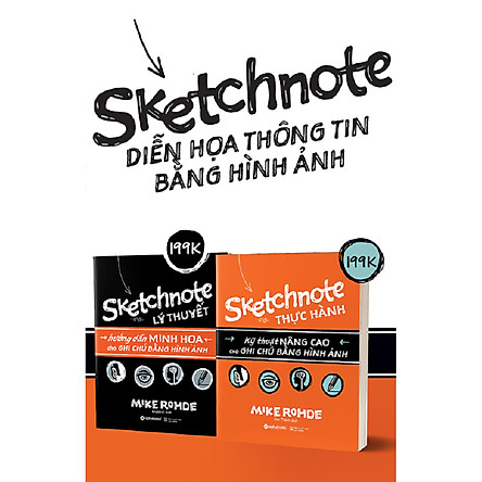 Combo Trọn Bộ Sketchnote - Ghi chép bằng hình ảnh ( Sketchnote Lý Thuyết + Sketchnote Thực hành ) Quà Tặng: Cây Viết Kute'