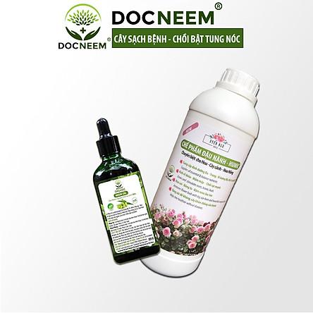 Combo Dầu Neem và Phân bón đậu nành Humic DOCNEEM hữu cơ, trị sâu bệnh kích chồi hoa hồng chuẩn form chai 100ml và 1 lít