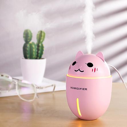 Máy phun sương tạo độ ẩm, khuếch tán tinh dầu hình mèo có đèn Led, quạt mini - Hồng