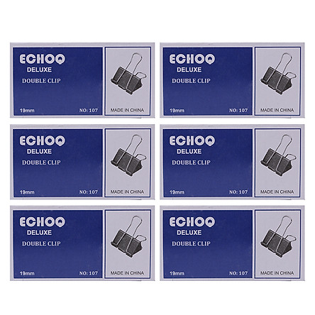 Bộ 6 Hộp Kẹp Bướm Echo (19mm) - Đen