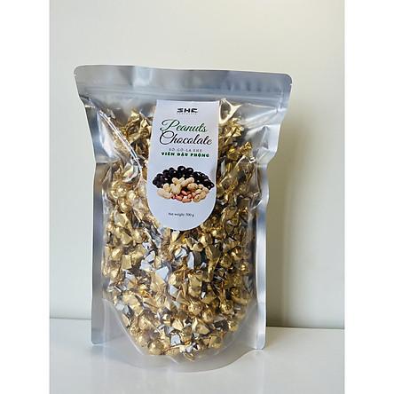 Kẹo Socola Đậu Phộng Túi 500g SHE Chocolate - Đặc biệt giòn tan - Đồ ăn vặt từ socola đen cung cấp dinh dưỡng