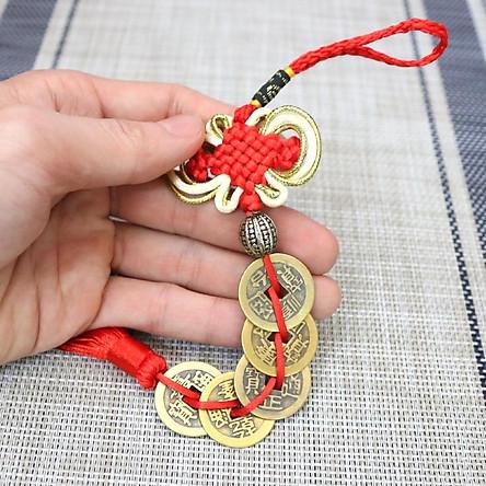 Chuỗi Tiền Xu Ngũ Đế, đồng tiền may mắn, đồng xu phong thủy cầu Tài Lộc