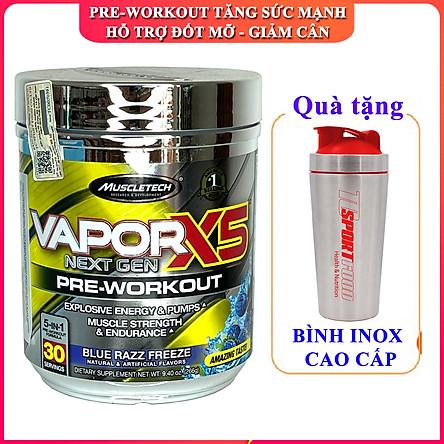 Combo Pre-Workout Vapor X5 của MuscleTech hương Blue Razz Freeze hộp 30 lần dùng hỗ trợ Tăng Sức Bền, Sức Mạnh, Đốt Mỡ, Giảm Cân mạnh mẽ cho người tập GYM & Bình INOX 739ML (mẫu ngẫu nhiên)