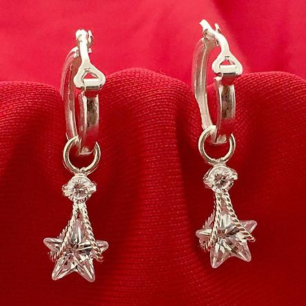 Bông tai nữ Bạc Quang Thản dáng dài đeo đá hình ông sao màu trắng chất liệu bạc thật không xi mạ - QTBT42