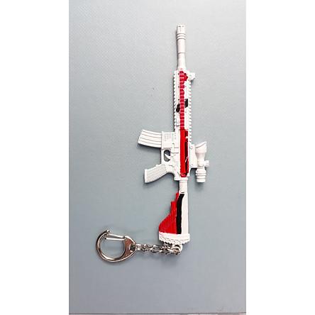Móc khóa mô hình trong Game PUBG mẫu M416 - Trắng Đỏ