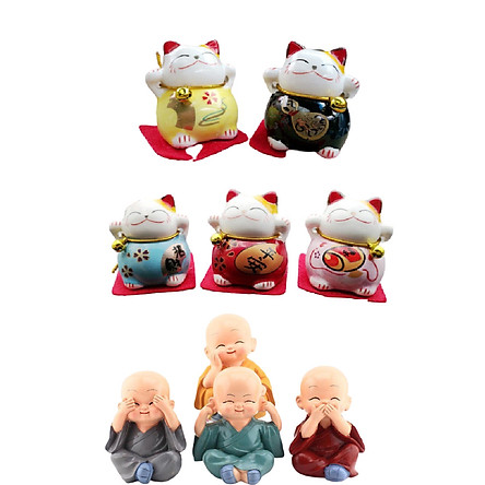 Bộ 5 Chú Mèo May Mắn + 4 Tượng Phật chú tiểu tu sĩ 4 Không