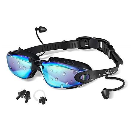 Kính bơi tráng GƯƠNG Ánh Kim 8016 PRO gồm Bịt Tai + Kẹp Mũi, kính bơi ngăn UV cao cấp - DONGDONG