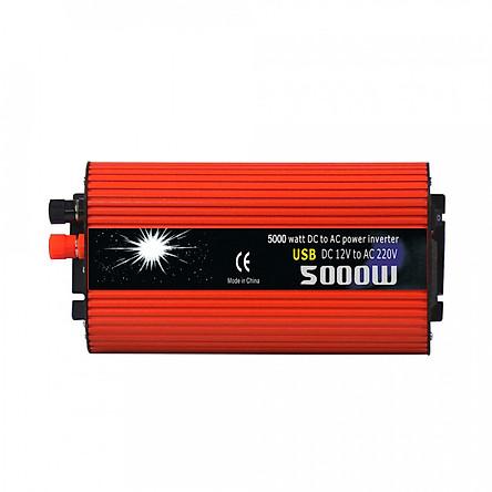 Bộ Chuyển Đổi Nguồn Điện Trên Xe Hơi DC 12V Sang AC 220V Hỗ Trợ 2 Cổng USB (5000W)
