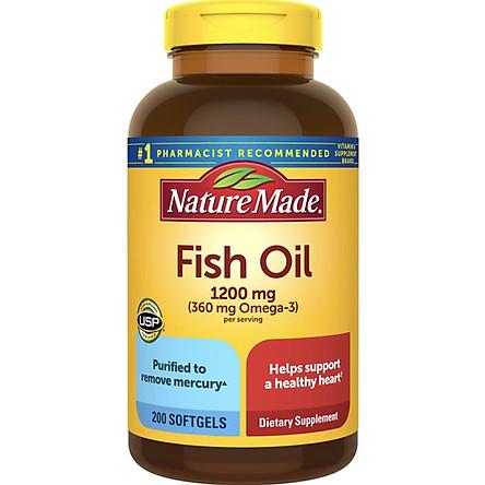 Thực phẩm bổ sung: Dầu cá Nature Made Fish Oil 1200mg, 360mg Omega-3, 200 Viên (Mẫu mới) - Nhập khẩu Mỹ