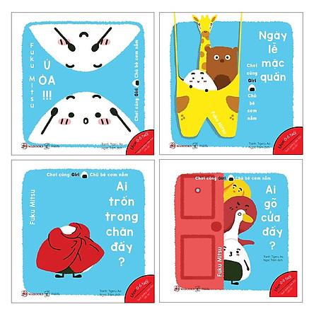 Combo 4 cuốn sách ehon chơi cùng giri 2 chú bé cơm nắm : Ai trốn trong chăn đấy? + Ai gõ cửa đấy? + Ngày Lễ Mặc Quần  + Ú Òa( Dành cho trẻ từ 0 - 6 tuổi) ( Tặng kèm Bookmark Happy Life)