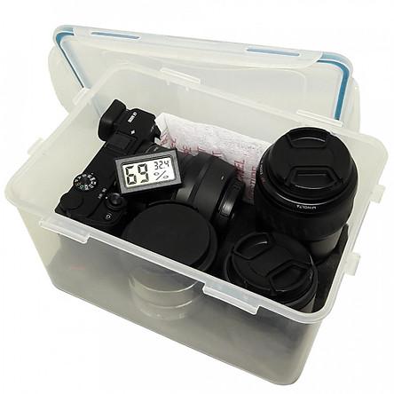 Combo hộp chống ẩm máy ảnh và ẩm kế điện tử, 100gram hạt hút ẩm xanh - dung tích 4 lít (tặng mút xốp lót hộp)