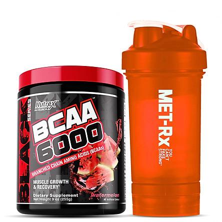 Combo Thực phẩm Hỗ trợ và Tăng trưởng Cơ bắp Nutrex BCAA 6000 - 30 liều dùng & Tặng kèm Bình nước 600ml (Màu ngẫu nhiên)