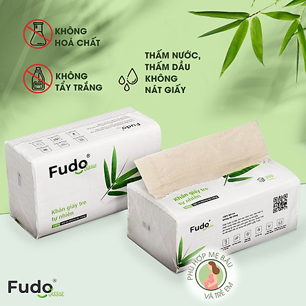 Khăn giấy tre Fudo - Combo 4 Gói Giấy Ăn: 100% bột tre, không tạo mùi, không tẩy trắng, siêu mềm, siêu mịn, siêu dai