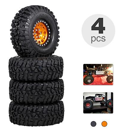 4PCS 2.2IN Crawler RC Tires with Metal Rim Ultra Soft Rock Crawler Tires for 1/10 rc Rock Crawler Traxxas Trx4 TRX-6