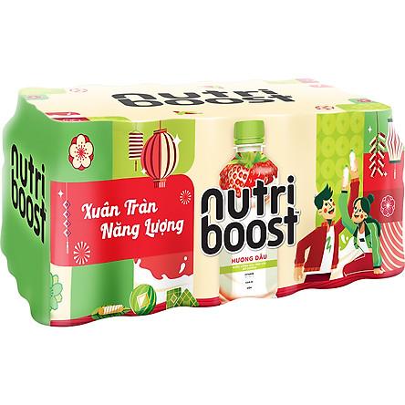 Lốc 24 Chai Sữa Nutriboost Hương Dâu (297ml / Chai)